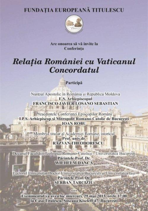 Afis Relatia Ro cu Vaticanul FET 29 mai